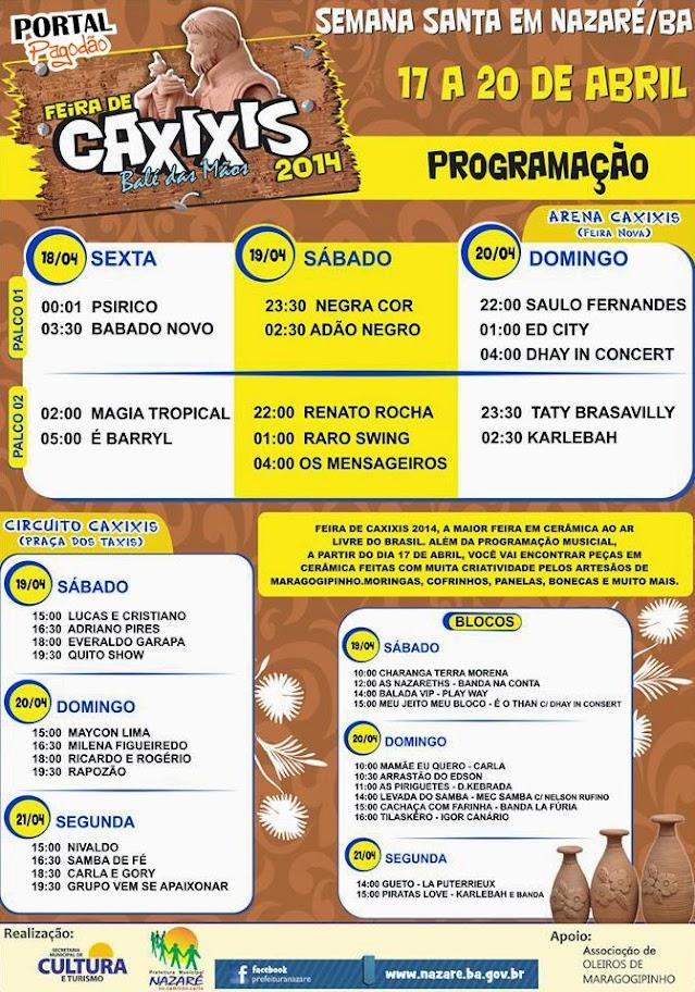 feira de caxixis 2014 - programação oficial