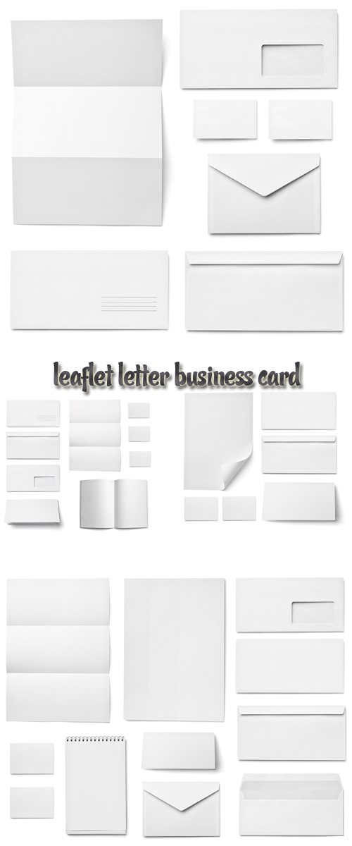 Stock Photo: Leaflet, letter, envelope and business card - white template from blank sheet