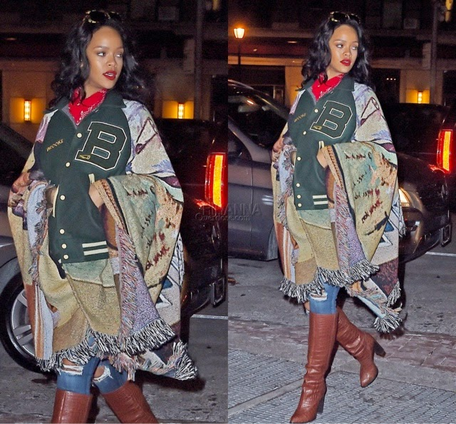 Rihanna in a BLESS Letterman Jacket