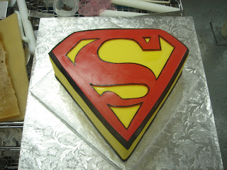 Red and yellow fondant Superman emblem custom unique creative birthday cake design idea