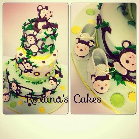 Stupendous Baking With Roxanas Cakes Monkey Themed Baby Shower Cake Personalised Birthday Cards Xaembasilily Jamesorg
