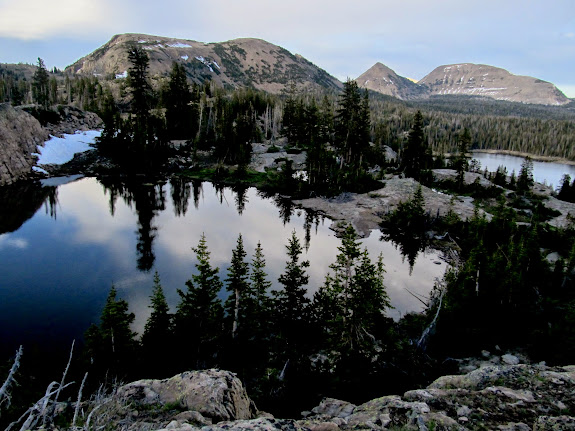 Pond below Clyde Lake, with East Notch Mountain, Reid's Peak, and Bald Mountain in the background