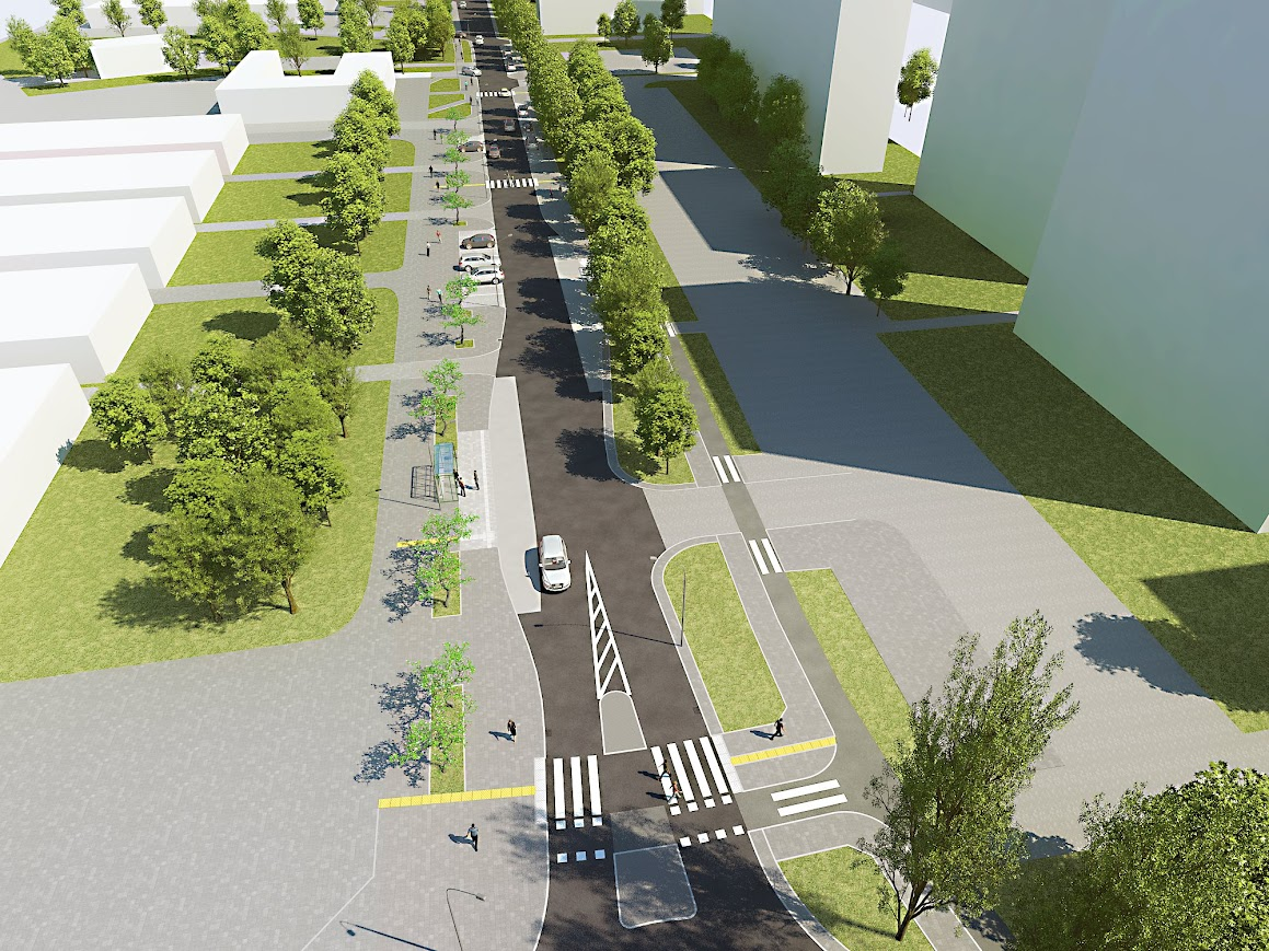 Generator ruchu jakim jest osiedlowe targowisko - po lewej, droga dla rowerów po stronie przeciwnej.
