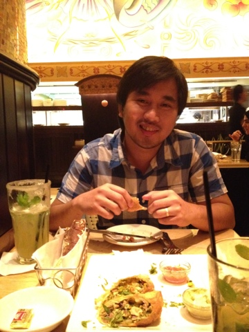 Ed enjoying at the Cheesecake Factory Dubai Mall