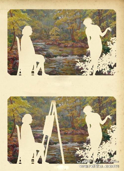 سيلويت ابيض على لوحات ملونة