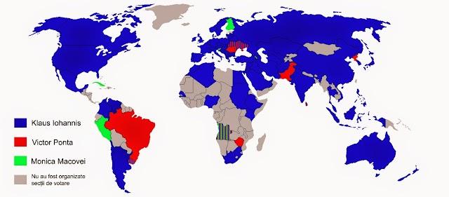 Harta votului din diaspora la alegerile prezidențiale 2014, primul tur