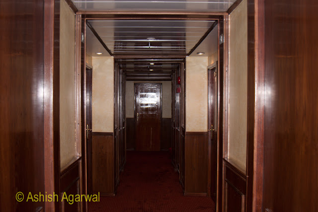 A corridor, inside one of the cruise ship on the river Nile