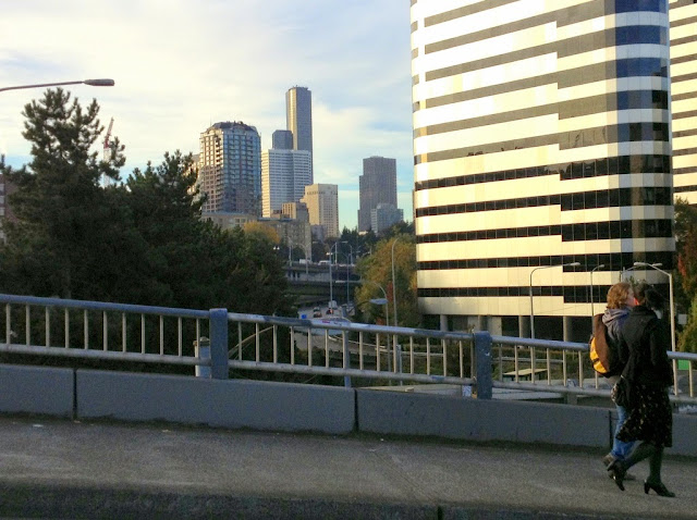 Looking south from the Denny Way bridge at the Seattle skyline.