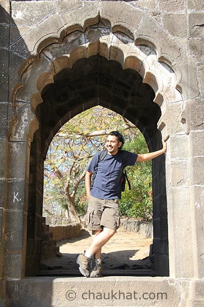 Bhavesh at the main gate of Shivneri