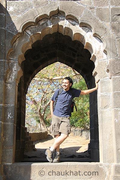 Bhavesh at the main gate of Shivneri