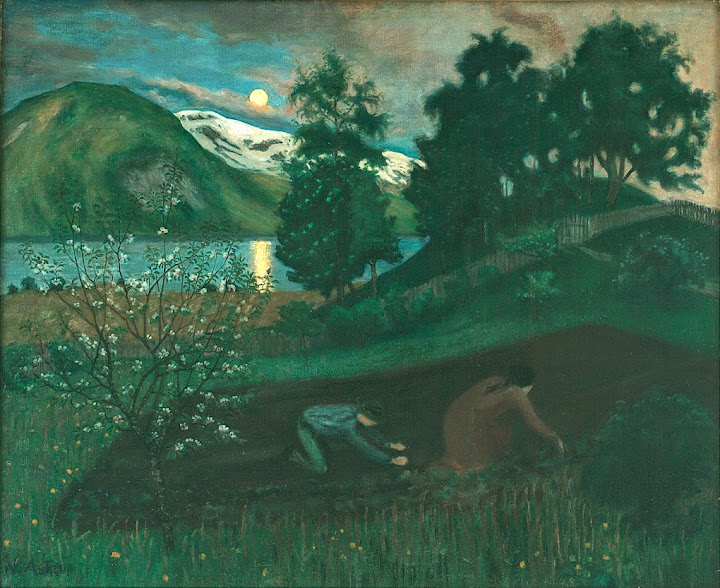 Nikolai Astrup - Spring Night in the Garden, 1909