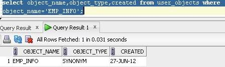 emp_info details in user_objects data dictionary view