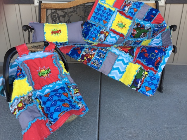 Superhero Rag Quilt Set with Tent and Throw Pillow for crib or toddler bed
