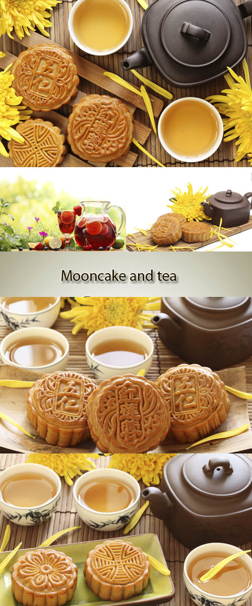 Stock Photo: Moon cake and tea