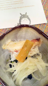 Nodoguro PDX September 2014, theme dinner Totoro. Fourth Course: Dungeness Crab and Fennel Sunomono and Uni wrapped in kelp