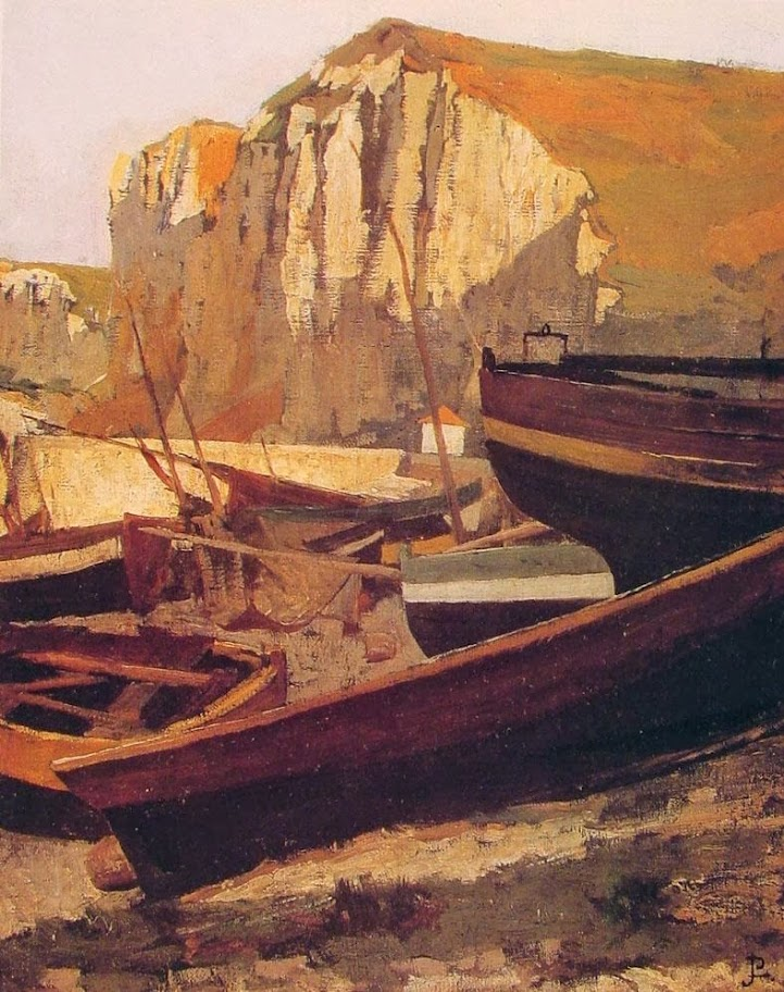 Jean-Paul Laurens - Boats at the foot of a cliff in Normandy