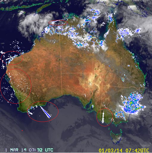 1st March 2014 radar anomlay BOM australia