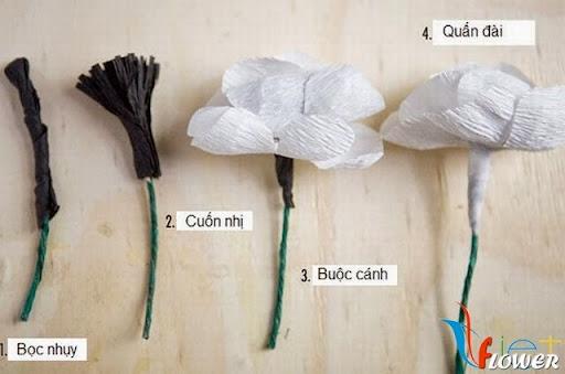 làm hoa anh túc bằng giấy nhún - bước 4