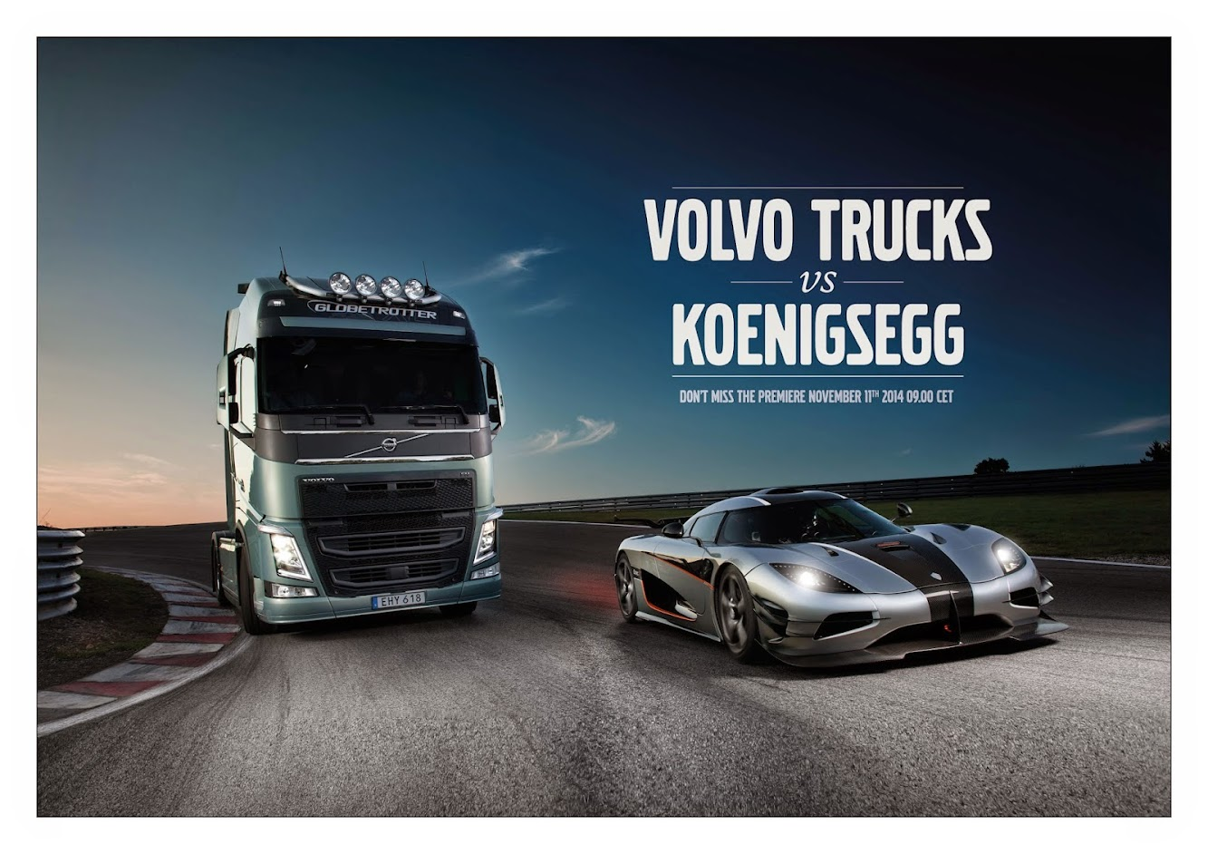 Teaser: Volvo Trucks challenges one of the world's fastest sports cars — a Koenigsegg One:1