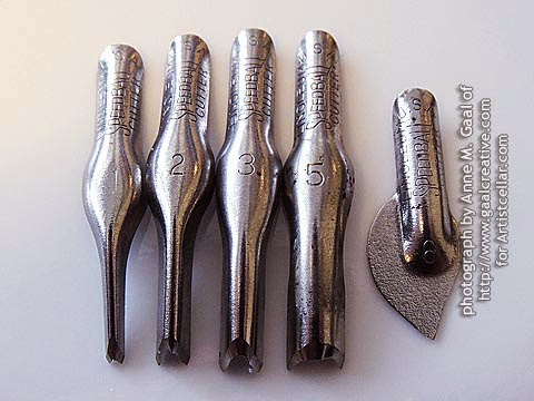 The 5 blades in the Speedball Lino Cutter assortment for a video tutorial at http://www.gaalcreative.com