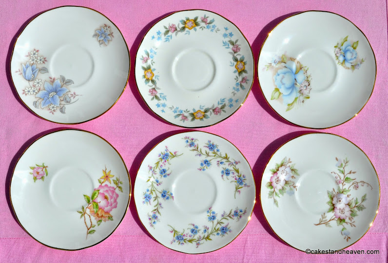 six mismatched vintage saucers