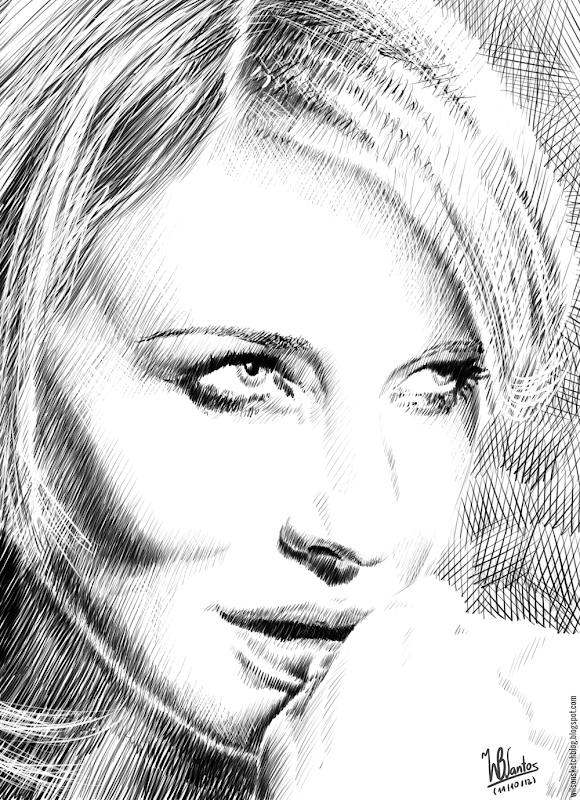Hatching drawing of Cate Blanchett, using MyPaint.