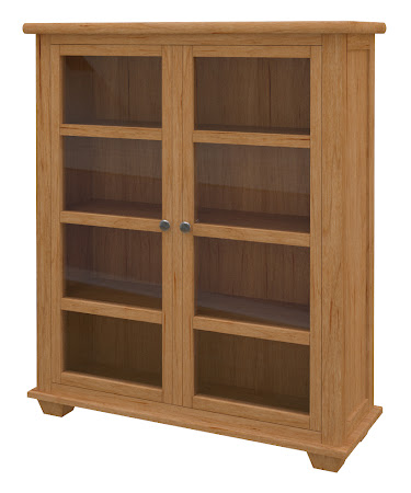Monrovia Glass Door Bookshelf in Calhoun Maple