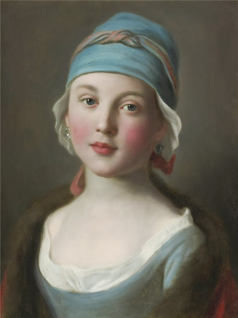 Pietro Antonio Rotari - Portrait of a Russian girl in a blue dress and headdress
