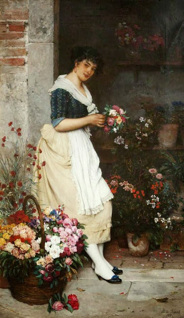 Eugene de Blaas - The Italian Flower Girl