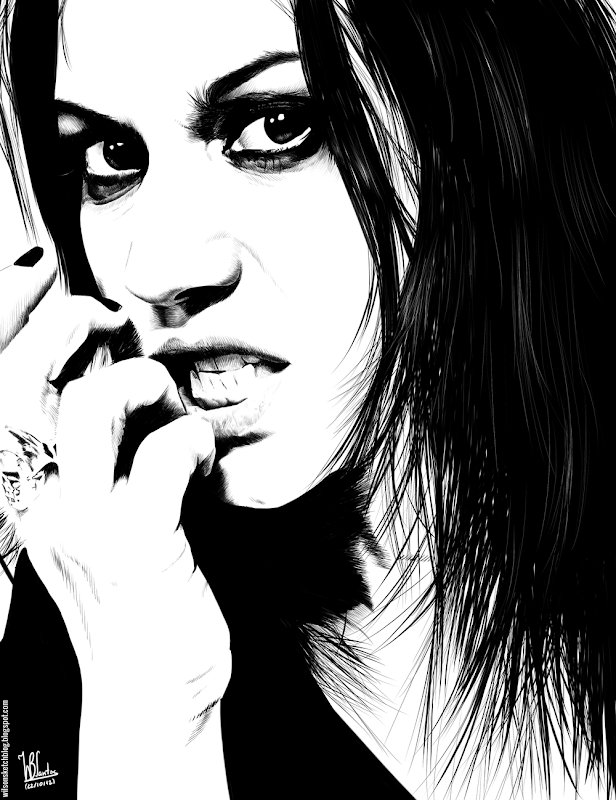 Ink drawing of Cristina Scabbia, using Krita 2.4.