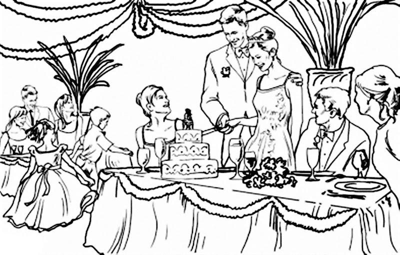 Novios cortando el pastel de bodas para colorear, pintar e imprimir