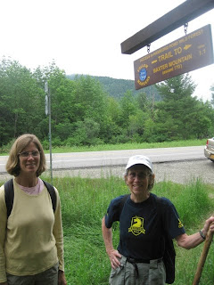 At trailhead to Baxter Mountain in the Adirondacks. (Originally the July 1st hike was to do Hurricane Mtn. but there was too much water on the trail.)