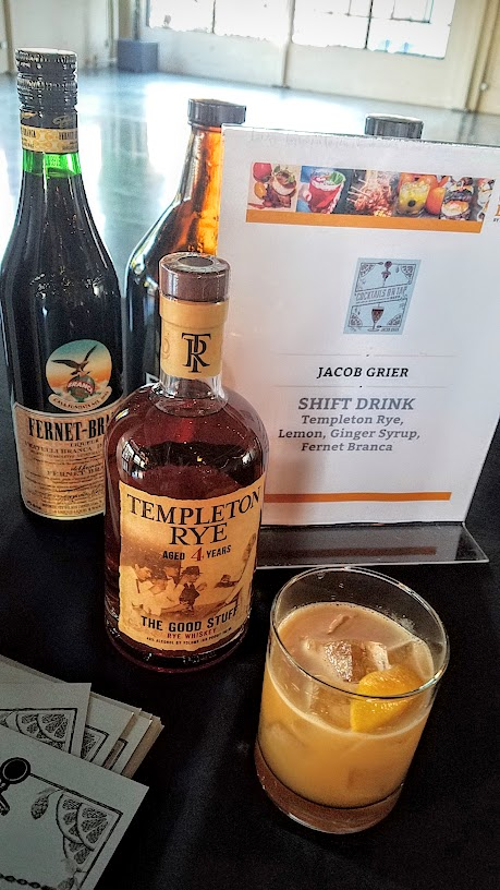 Jacob Grier created a cocktail called Shift Drink with Templeton Rye, Lemon, Ginger Syrup, and Fernet Branca for CigarBQue 2016