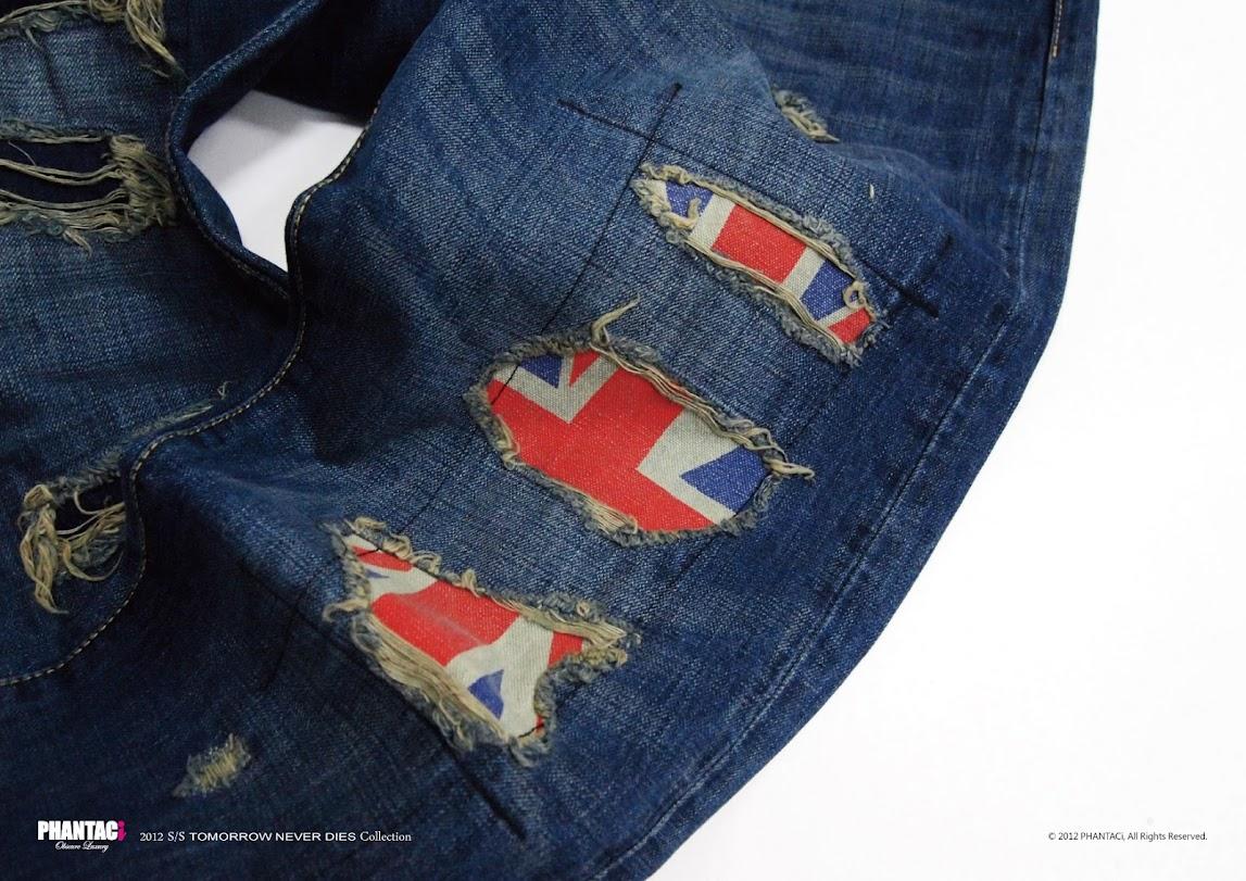 *PHANTACi英倫風旗幟限定褲 :U.K. Flag Destroyed Denim 4