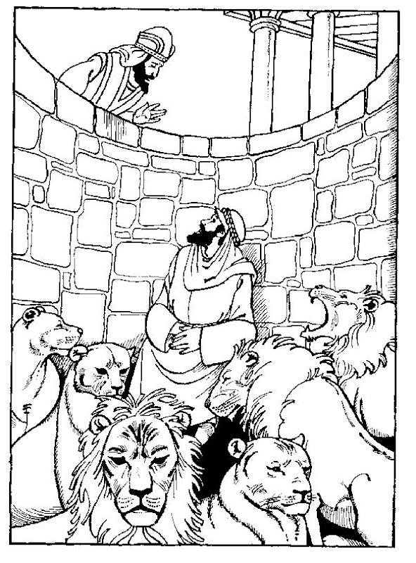 Daniel en el foso de los leones para colorear