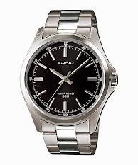 Jam Tangan Wanita Tali Stainless Putih Hitam Casio Standard : LTP-E116D-1AV
