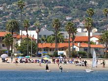 J/24 sailing spectators- Santa Barbara waterfront sailboat fanatics