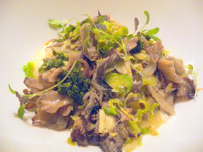 Tabla Bistro, Bob's Red Mill Polenta with maitake mushrooms, brussels, sprouts, salsa verde