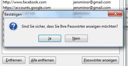 Firefox Passwörter