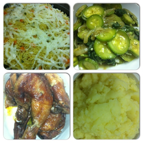 Desejos de grávida, Arroz de forno, frango ao vinho, purê de batatas, abobrinhas, espinafre, comida saudável, Jantar, baixa lactose, al dente