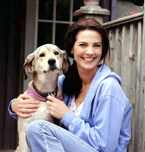 Terry Farrell and her dog