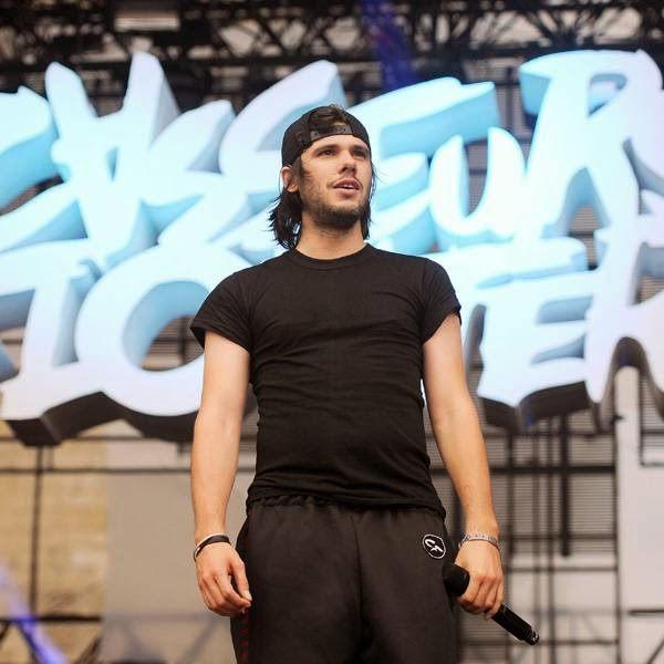 Orelsan, singer of the French band Casseurs Flowters performs on the main stage during the Francofolies music Festival in La Rochelle, on July 13, 2014.