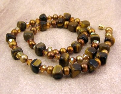 Copper Swarovski Pearls and Crystals Tiger's Eye Gemstone Necklace