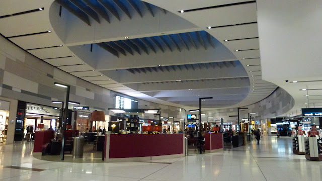 Shops and seating facilities airside at Sydney Airport