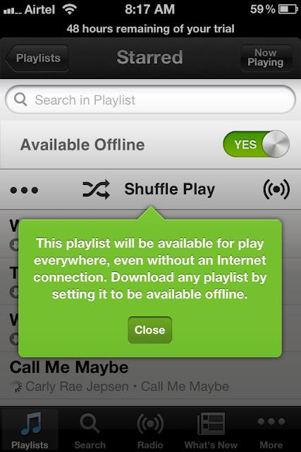 Switch to offline mode in Spotify