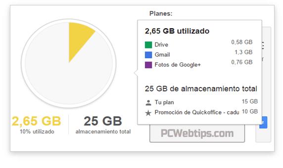 ver espacio usado google drive