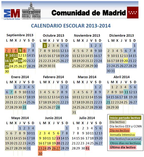 Calendario escolar curso 2013-2014 en la Comunidad de Madrid