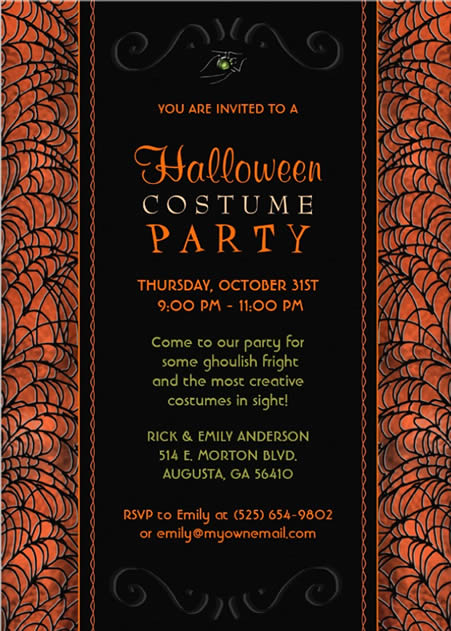 HALLOWEEN INVITATIONS Halloween Costume Party Invitation Orange – Halloween Costume Party Invite