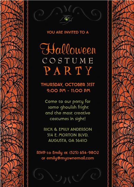 HALLOWEEN INVITATIONS Halloween Costume Party Invitation Orange – Creative Halloween Party Invitations