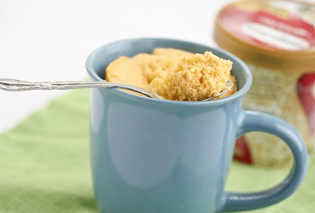 close-up photo of a spoonful of Pumpkin Quick Bread Mug Cake